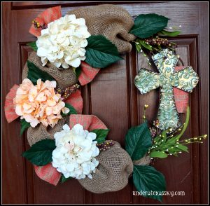 Easter Wreath with Burlap and a Cross