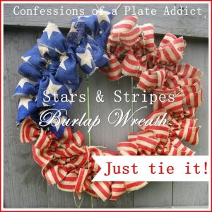 Easy Stars and Stripes Burlap Wreath...Just Tie It