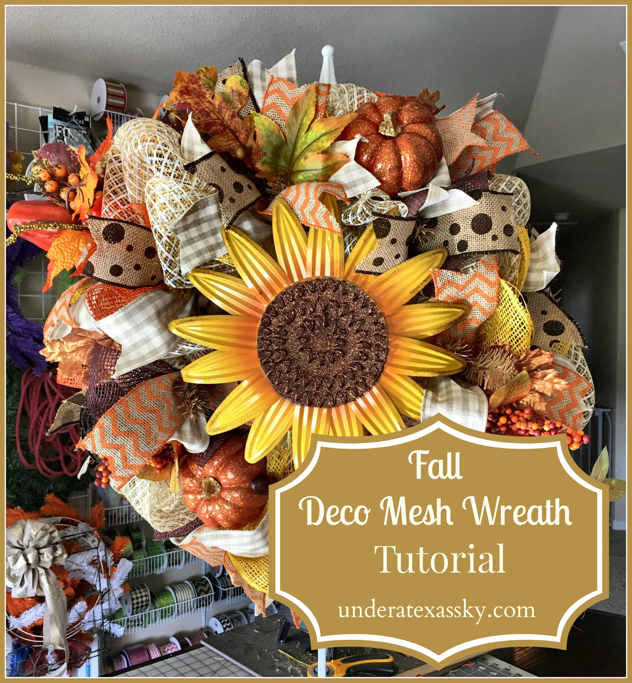 Fall Deco Mesh Wreath Tutorial Under A Texas Sky