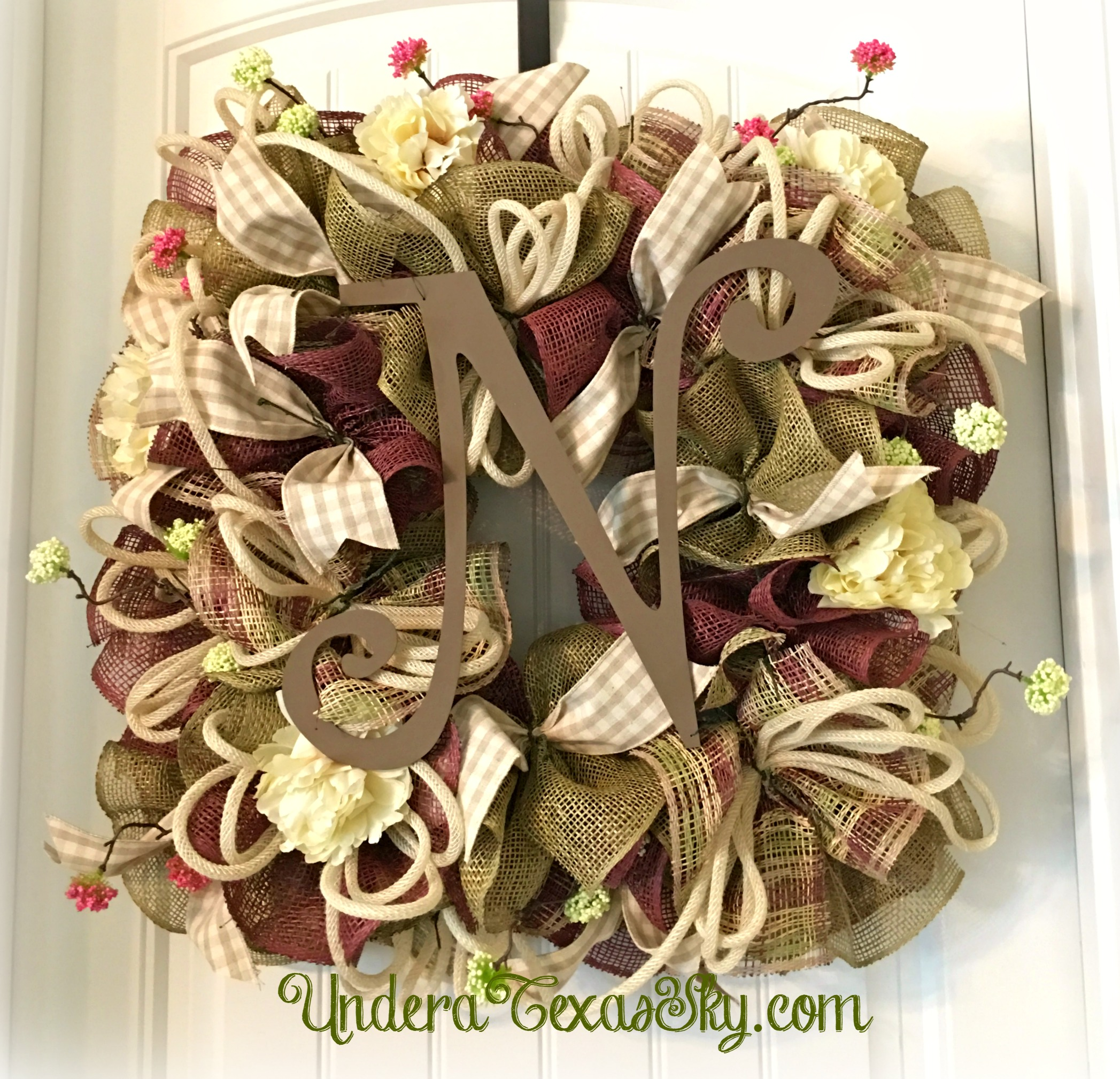Square Spring Poly Burlap Wreath Video Tutorial Under A