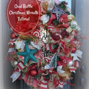 Christmas Oval Deco Mesh Ruffle Wreath