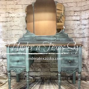 Painted Antique Vanity with Stained Top
