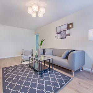 Gray fabric sofa placed indoor
