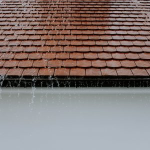 Photo of roof while raining